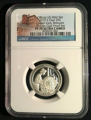 2019 S CLAD PROOF LOWELL NP Quarter 25c Massachusetts NGC PF70 UC ER ATB