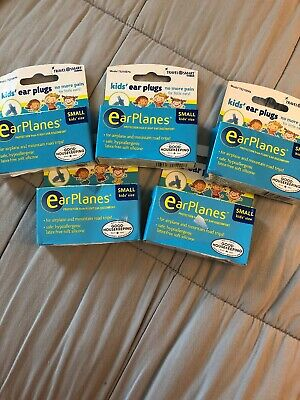 LOT OF 5 EarPlanes Ear Plugs Kid's Small Size 1 PAIR IN EACH BOX