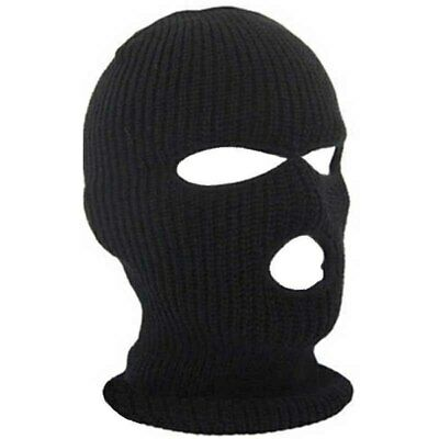 3 Hole Black Balaclava Knit SAS Style Mask Neck Warm Hat Ski Paintball Fishing