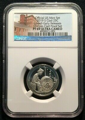 2019 S CLAD PROOF LOWELL NP Quarter 25c Massachusetts NGC PF69 UC ER ATB