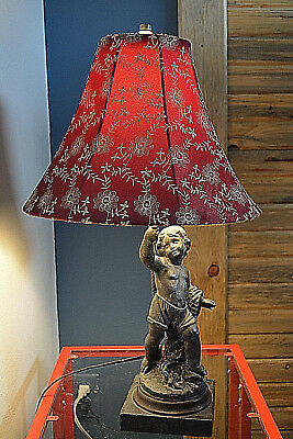 Antique Figural Lamp Young Boy Fisherman Cupid C. 1900 Spelter Marble Original