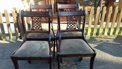 4 Regency dining chairs,solid Mahogany,carved,stable,0 carvers,cushion clean