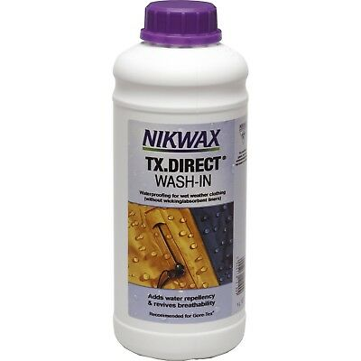 Nikwax TX DIRECT 1 Litre WASH-IN Bottle Waterproofs 10 Jackets Wet Weather Gear