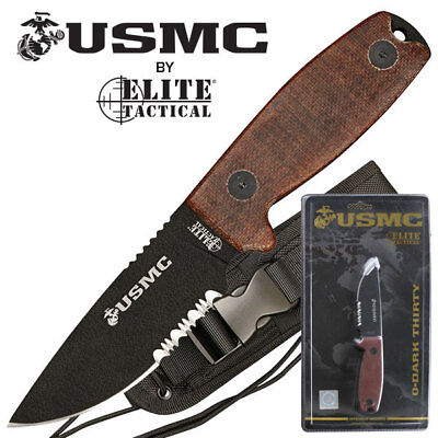 """U.S. Marine Corps USMC 8"""" Black and Tan Stainless Steel Fixed Blade Knife NEW"""