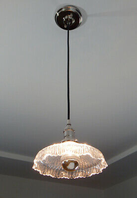 Cloth Cord Pendant Light. Antique Glass Shade New Nickel Fixture