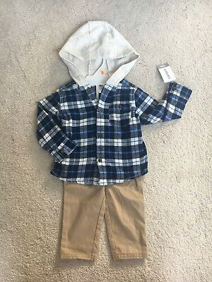 ac500fad4 Carters 12 Months Hooded Flannel Shirt & Pants Set Baby Boy Clothes NWT