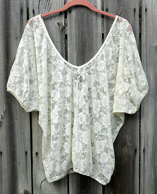 5f8c330e NWT BANANA REPUBLIC White Ivory Sheer Floral Lace Short Sleeve Top L ...