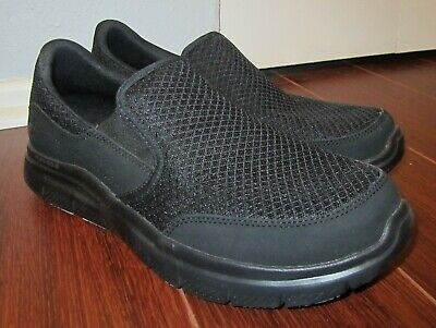 59b73db24e5 Mens Skechers Work Slip Resistant Relaxed Fit Slip on Shoes Sz 9 FREE  SHIPPING