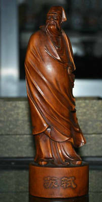 """7.4"""" Old Chinese Boxwood Wood Ancient Su Shi Su Dongpo Great Poet Scholar Statue"""