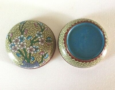 """Vintage Chinese Cloisonne Brass Round Lidded BOX 3 1/8"""" Floral Blossoms"""