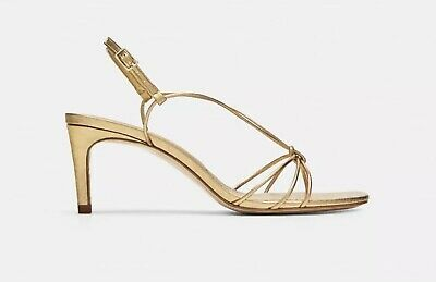 011bc7080c4 NWT ZARA GOLD Strappy Leather High Heel Sandals Sz US 10 EU 41 Spain