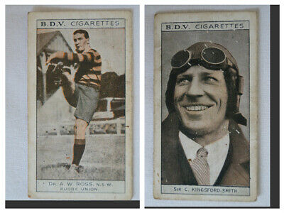 BDV 1933 Vintage Double Sided Card Rugby Union-Aviation A.W Ross-Kingsford Smith