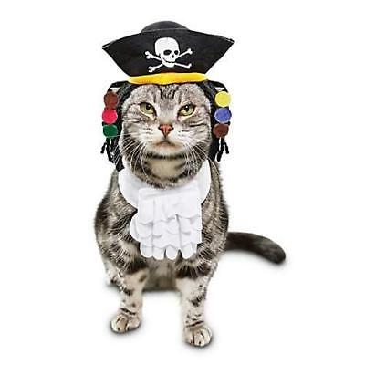 Bootique Pirate Cat Costume 2 Pc Hat W/Dreads Jabot Collar OSFM Small Dog Petco