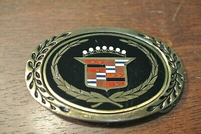 Vintage Cadillac Caddy Logo Emblem Solid Brass Belt Buckle