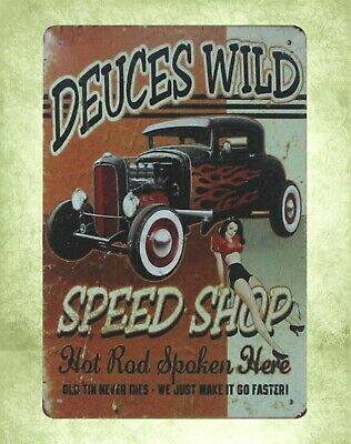 old reproductions for sale Deuces Wild Auto Shop car tin metal sign