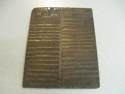 Antique Retail Printing Plate For Varsity Lable Long Playing Vinyl Records USA