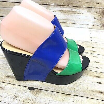 8c5bde6193d Nine West Women s Size 7M Black Green Blue Larysa High Heel Wedge Sandals