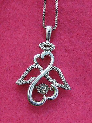Jane Seymour Open Heart 925 RHYTHM Diamond ANGEL Necklace $349 OFFERS CONSIDERED
