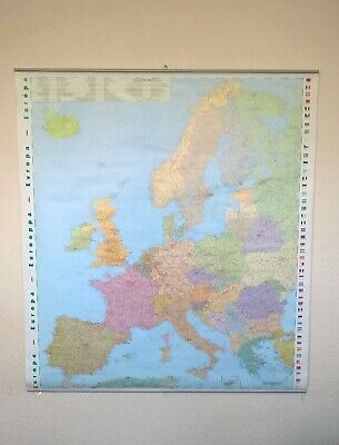 NAUMANN & GOBEL Large EUROPE Roll Down Hanging WALL MAP School Made in Germany