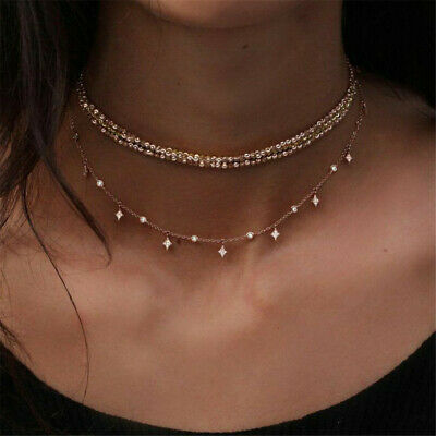 Boho Multilayer Choker Necklace Crystal Star Chain Gold Women Fashion Jewelry
