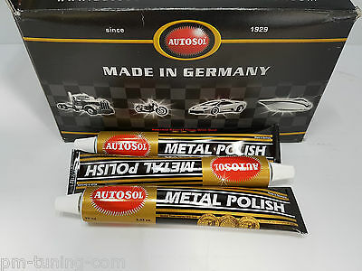 3x AUTOSOL metal polish - Edel Chromglanz Politur je 75ml (GP: 6,22€/100ml)