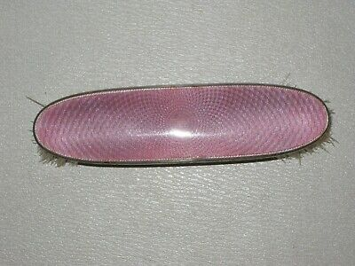 Antique Sterling Silver Backed Guilloched Pink Enamel Clothes Brush - B'ham 1926