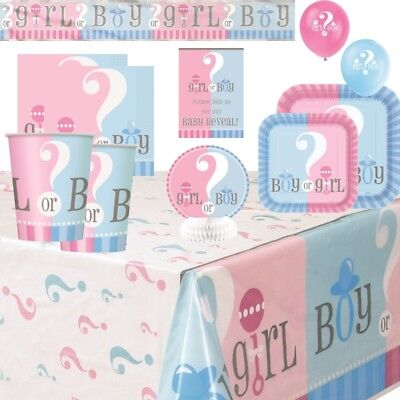 Gender Reveal Baby Shower Party Supplies Tableware Decorations Balloons Invites