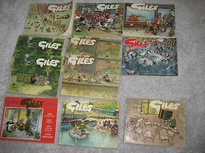 11 x GILES Cartoon Annual Paperbacks + GILES: A LIFE IN CARTOONS