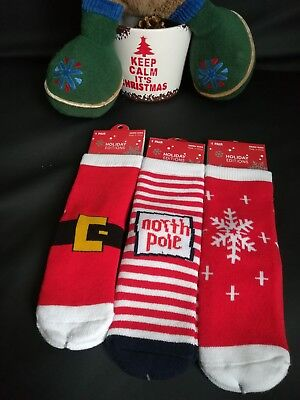 Bundle BNWT joblot Wholesale 3 x Christmas Socks Boys Girls Size Approx UK 9-12