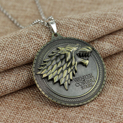Game of Thrones House Stark Wolf Necklace Winter Is Coming Metal Pendant Hot