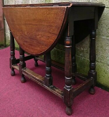 Antique English Oak Drop Leaf Table