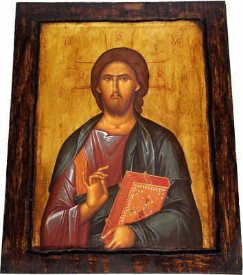 Jesus Christ - Blessing - Orthodox icon on wood handmade (22.5 cm x 17 cm)