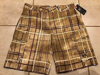 24a854f8fa Under Armour Cargo Shorts Mens Size 34 X Storm 1 Brown Plaid Performance  Stretch