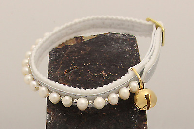 Luxury Freshwater Pearl Ancol Safety Cat/Kitten Collar with Silver Beads & Bell