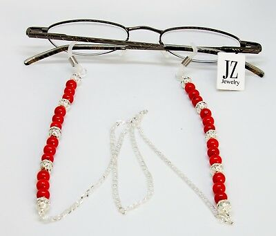 Red Coral and Sterling Silver Beads  Eye Glasses Spectacles Holder Granny Gift