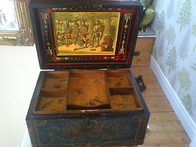 A SUPERB 19th CENTURY LARGE  HANDPAINTED /LITHOGRAPH SEWING-JEWELLERY  BOX