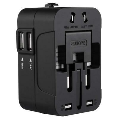 Universal Travel Adapter World Wide Multi Plug Charger with Dual USB 2 Ports SY