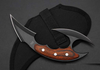 Fixed Blade Straight Knife 440C Steel Double Blade Karambit Wooden Handle Knives