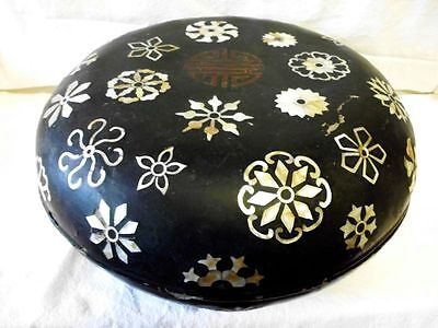 """32 cm antique asian papier mache lacquer box-mother of pearl inlays -""""Long Life"""""""