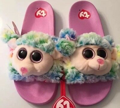 a0e0de404 Youth Girls Ty Beanie Boo Flip Flop Slide Slippers Rainbow Poodle Size 2-3
