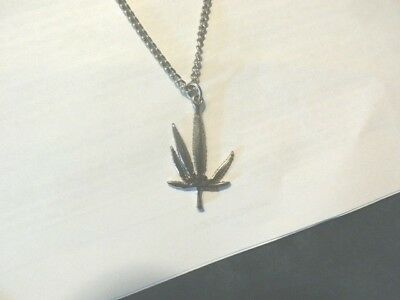 "Silver Weed Pendant Necklace w 24"" Chain Stamped Korea 12.9 Grams Drugs Plants"