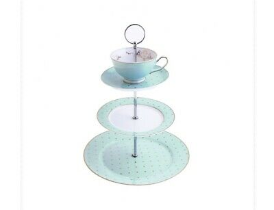 Miss Darcy 3 Tier Cake Stand Teacup and Saucer Mint and Gold Spot