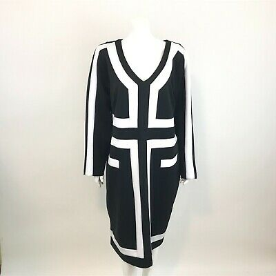 4138a463 Eloquii Womens Shift Dress Plus Size 20 Black White Color Blocked Long  Sleeve