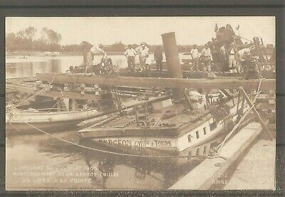 Carte Photo Cyclone 1905 Renflouement Drague Coulee Loire Lariviere Angers