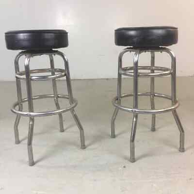 Pair of (2) Vintage American Diner Black Swivel Bar Stools Retro Chrome Original