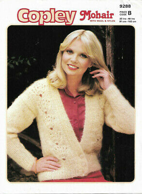 vintage knitting pattern; copley 9288 mohair lace front panel cardigan