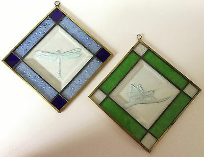 2 Etched GRASSHOPPER & DRAGONFLY Hanging Stained Glass Sun Catcher Green Blue