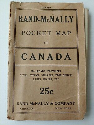 Early 1900s Rand McNally Pocket color railroad provinces cities Map of Canada
