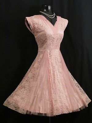 Vintage 1950's 50s PINK Lace Tulle Cocktail Prom Party Wedding Dress S/M