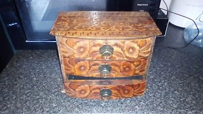 Original Antique Carved  Wooden Box with Drawer size